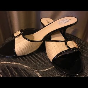 East 5th Sandals.  Black patent leather & cream.